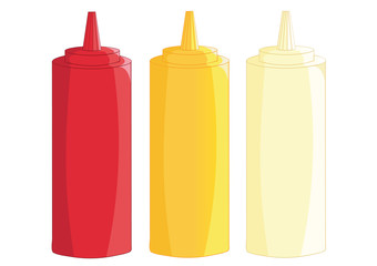 Dispensers for ketchup, mustard and mayonnaise