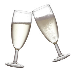 Pair of champagne flutes making a toast