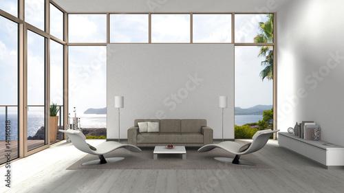 Wohnzimmer Mit Grossen Fenstern, Terrasse Und Blick Auf Das Meer ... Terrassen Design Meer Bilder