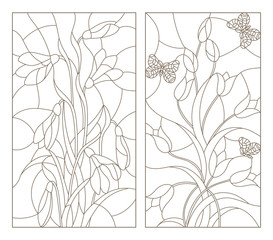 Set contour illustrations in the stained glass style,  snowdrops and tulips with butterflies, dark outline on a white background