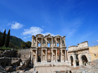 Ruins of the ancient Celsus Library in Ephesus, Turkey