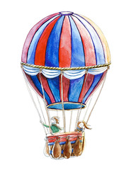 Watercolor hot air balloon illustrations isolated on white background. Hand drawn vintage air balloon with human flying in the sky. Romantic retro image for kids cartoon magazine.