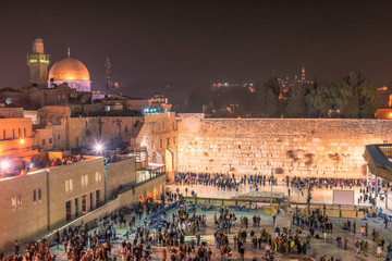 Western wall at night in Jerusalem Old City, Israel.