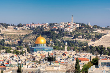 Aerial view to Jerusalem Old city, the Temple Mount, Dome of the Rock and Mount of Olives in Jerusalem, Israel.