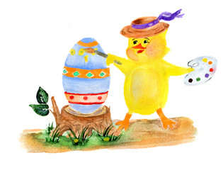 Chicken painter and easter egg