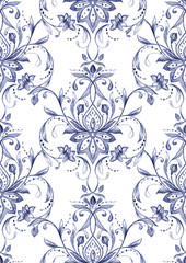 Paisley  seamless pattern, watercolor decorative motif. Hand drawn print for wrapping, wallpaper, fabric, textile