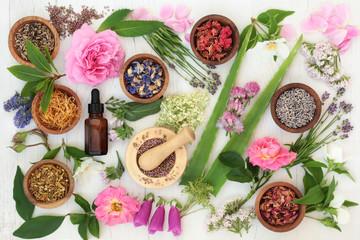 Healing Flowers and Herbs. Used in alternative herbal medicine.