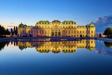 Garden Poster Vienna View of Belvedere Palace in Vienna after sunset, Austria