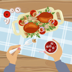 Person is eating Grilled chicken and glass of cola on wooden table. Top view Vector illustration eps 10