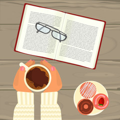 Person with hot coffee, cucakes, book and glasses on wooden table. Top view vector illustration eps 10