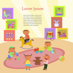 Happy childhood banner. Children playing in Kindergarten. Vector illustration eps 10