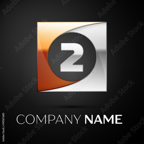 number two vector logo symbol in the colorful square on black