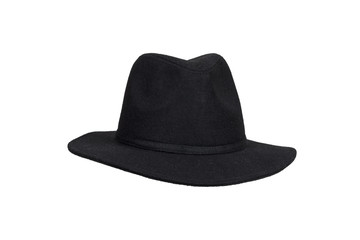 Black woolen hat isolated on white with clipping path.