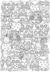Pattern for coloring book. Owls. A4 size.