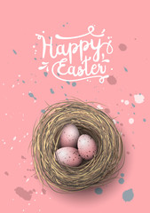 Nest with pink eggs on pink background, illustration