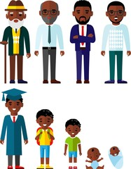 All age group of african american people.Generations man. 