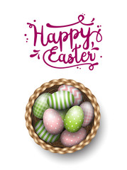 Basket with painted easter eggs on white background, illustration