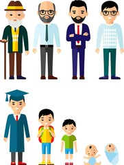 All age group of european people. Generations man.  Stages of development man - infancy, childhood, youth, maturity, old age.