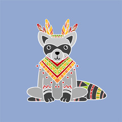 Raccoon Wearing Tribal Clothing
