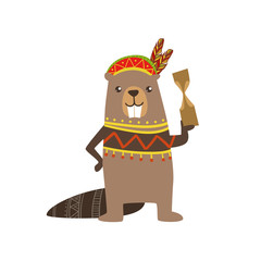 Beaver Wearing Tribal Clothing