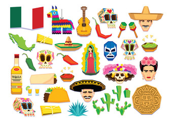 Vector Of Mexican Elements Isolated On White Background