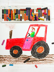 Colorful drawing: man in a red tractor