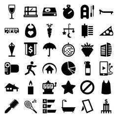 Set of 36 flat filled icons