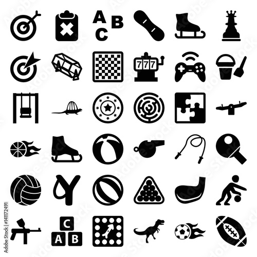 Set of 36 game filled icons