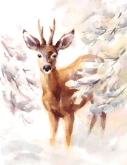 Watercolor Deer Hand Painted Winter Scene Illustration