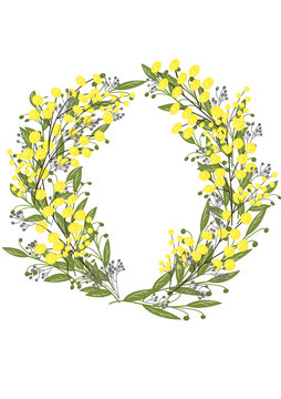 Wreath of yellow mimosa, and a variety of green and gray leaves. Postcard birthday, Valentine's Day, wedding, Women's Day.