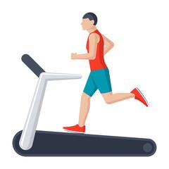 Running on treadmill, vector illustration in flat style