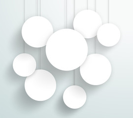 Vector 3d Blank White Circle Frames Hanging Design