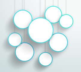 Vector 3d Blue Circle Signs Hanging Design
