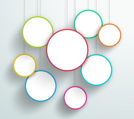 Vector 3d Colourful Circle Signs Hanging Design