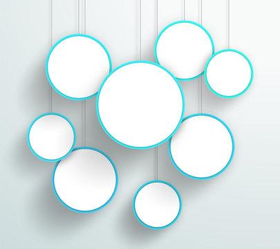 Vector 3d Blue Circle Signs Hanging Design