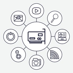 Set of 9 internet outline icons