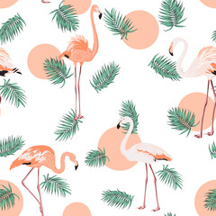 Turquoise blue green tropical jungle palm tree leaves. Exotic flamingo wading birds. Red pink sun circle dot. Seamless pattern texture on white background.
