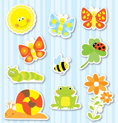 Stickers set of cute cartoon spring nature elements : butterflies ,bee, flowers , sun / vectors collection for children