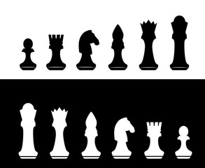 black and white chess silhouette