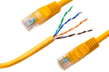 An ethernet wire cable and yellow patch-cord with twisted pair (isolated).
