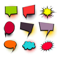 Funny set colored comic speech square bubbles