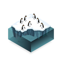 Penguins on ice in the open sea isometric concept.