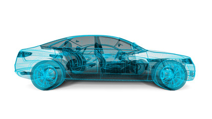 3D render image representing an car in wire frame / Wire frame car