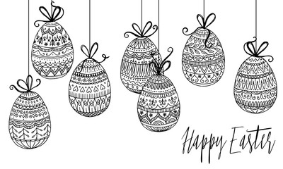 Hanging Easter eggs with detailed, hand drawn pattern