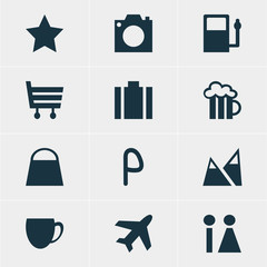 Vector Illustration Of 12 Location Icons. Editable Pack Of Beer Mug, Shopping Cart, Landscape Elements.