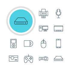 Vector Illustration Of 12 Technology Icons. Editable Pack Of Media Controller, Monitor, Dvd Drive And Other Elements.
