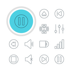 Vector Illustration Of 12 Music Icons. Editable Pack Of Rewind, Preceding, Pause And Other Elements.