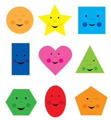 collection of smiling, happy cartoon geometric shapes / educational set of basic shapes for children on white background