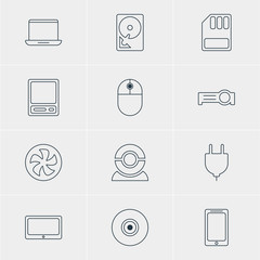 Vector Illustration Of 12 Laptop Icons. Editable Pack Of Objective, Pda, Hard Drive Disk And Other Elements.