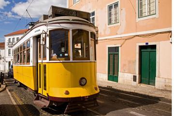 Historic trolley car in downtown Lisbon, Portugal